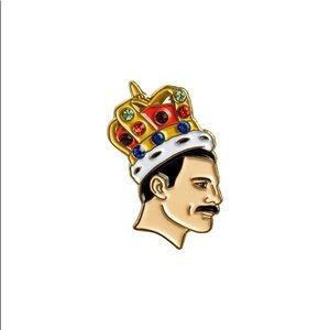 Freddie Mercury Queen Jeweled Crown Enamel Pin